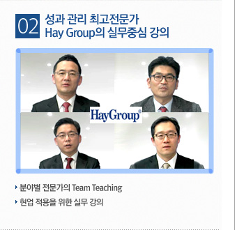 성과 관리 최고전문가 Hay Group의 실무중심 강의 / 분야별 전문가의 Team Teaching 현업 적용을 위한 실무 강의