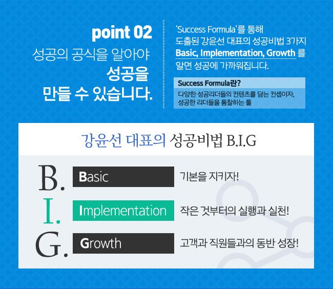 POINT2성공의 공식을 알아야 성공을 만들 수 있습니다.-'Success Formula'를 통해 도출된 강윤선 대표의 성공비법 3가지 Basic, Implementation, Growth 를 알면 성공에 가까워집니다.(Success Formula란?다양한 성공리더들의 컨텐츠를 담는 컨셉이자, 성공한 리더들을 통찰하는 툴)